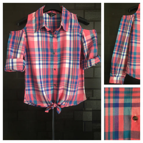 Checked Cold - Shoulder - Multicolor ( Pink Major) Check Shirt with front knot