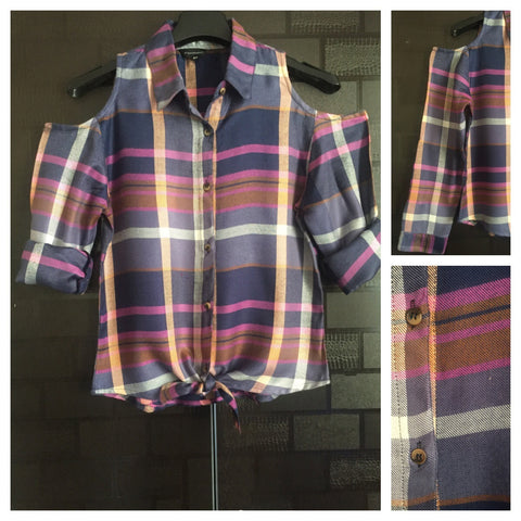 Checked Cold - Shoulder -  Multicolor ( Purple Major) Check Shirt with front knot