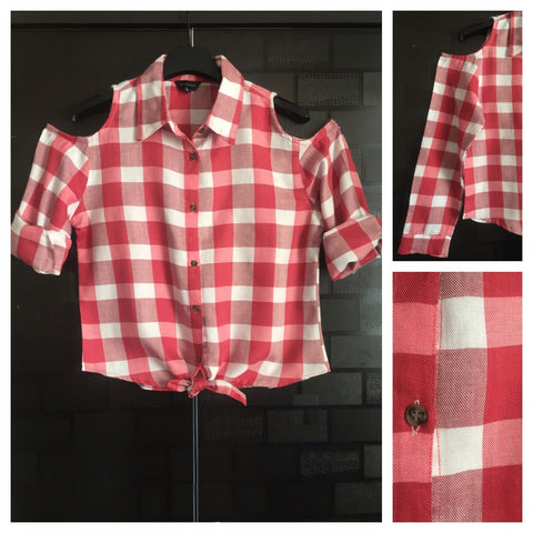 Checked Cold - Shoulder - White and Pink Check Shirt with front knot