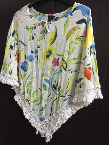 Poncho Style Top with Tassels - Lemony Floral