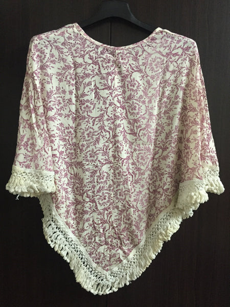 Poncho Style Top with Tassels - Cream and Mauve Floral