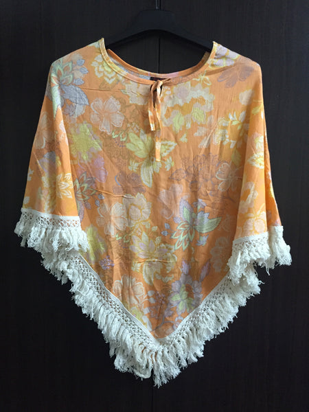 Poncho Style Top with Tassels - Light Orange Floral