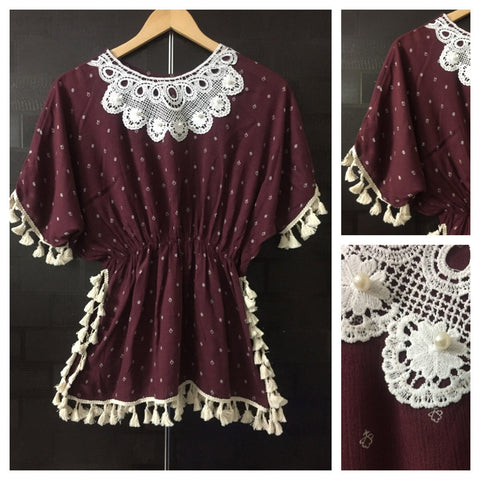 Pearls - Lace and Tasseled - Light - Maroon with Cream Printed Top