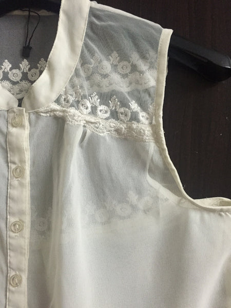 Pretty Cream Top with Net on Top Back