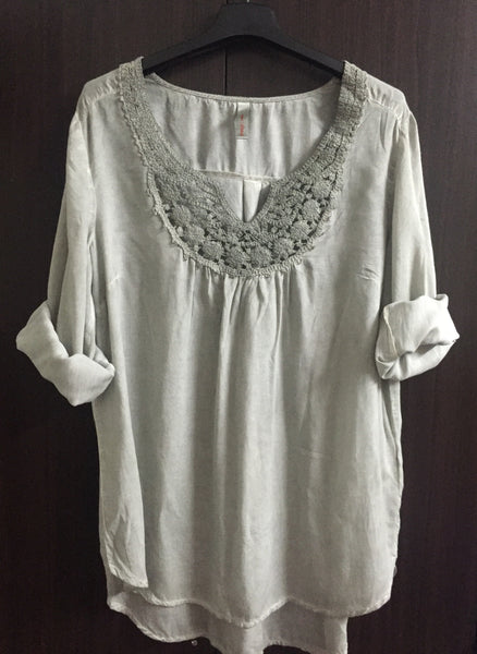 Grey Casual Washed Out Top with design on Neck