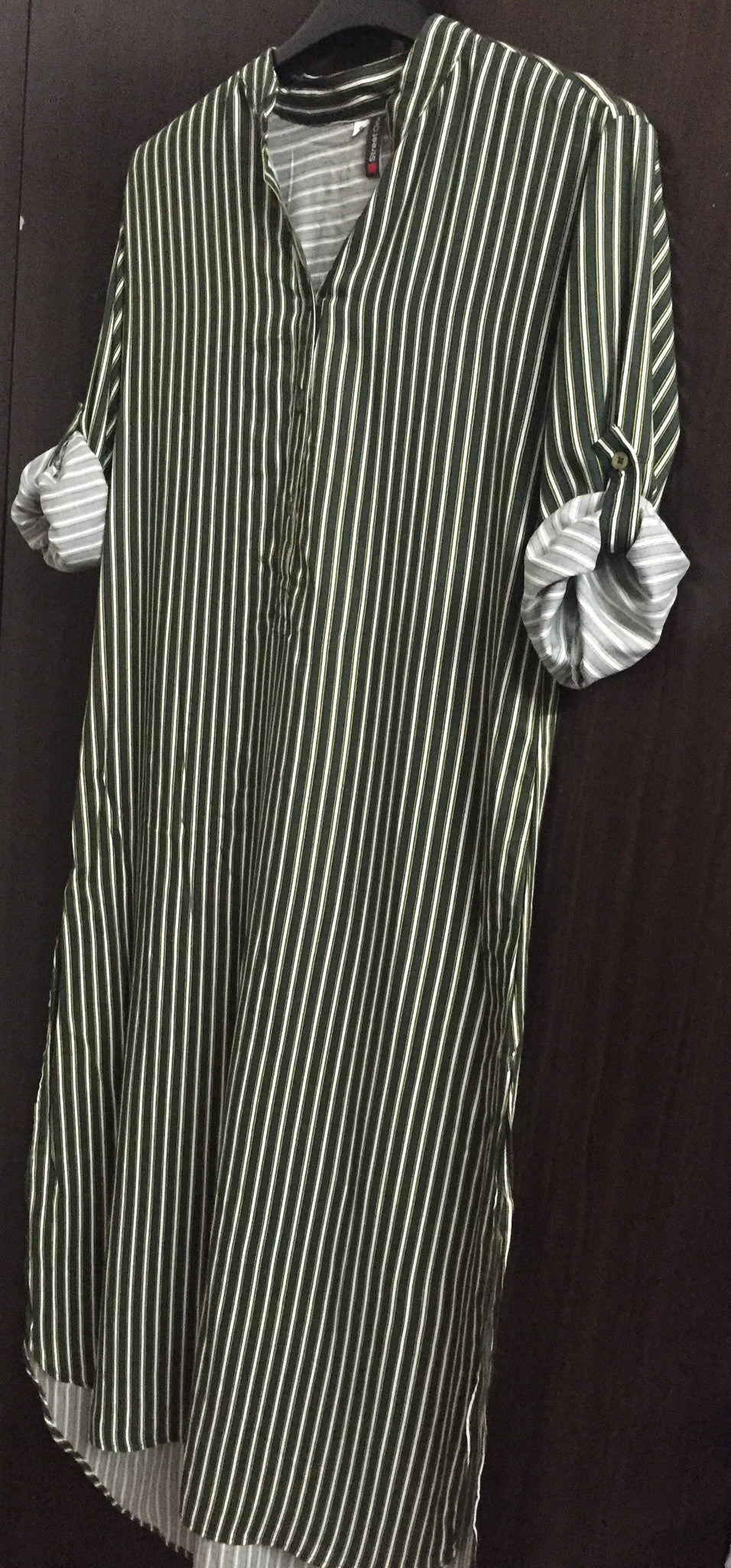 Printed Green, Cream and Yellow Shirtdress with vertical stripes