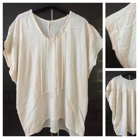 Poncho style - Slightly Netted Cotton Peach Top
