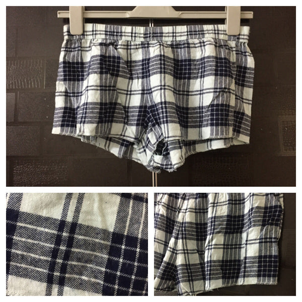 Little Warm - Checks - Light and Dar Blue Checked Short Shorts