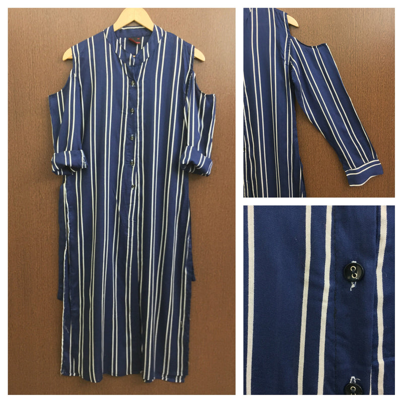 Stylish - Front Open - Cold Shoulder Striped Blue Kurta