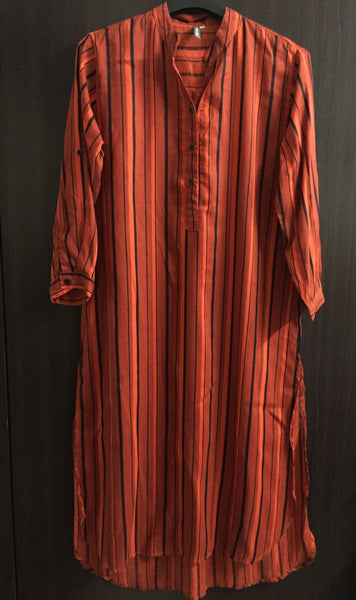 Printed Rust, Red and Black Shirtdress with vertical stripes