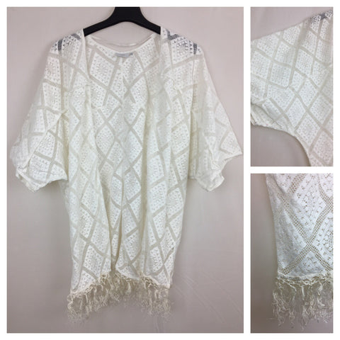 Tasseled White Croatia Shrug