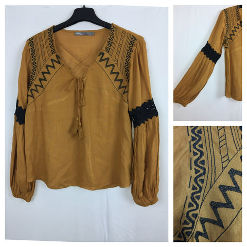 Embroidery worked - Mustard Top with black thread work and front tie
