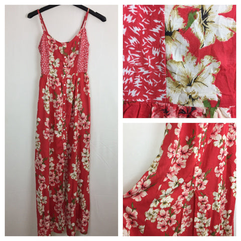 Pretty Pinkish-Cream Flowers on Red, Long Maxi Dress