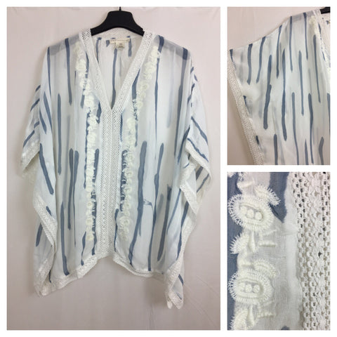 Elegant Light Blue and White Striped Poncho Top with lace and embroidery