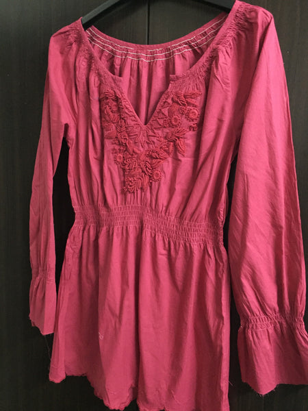 Pink Full Sleeves Top with Thread work.