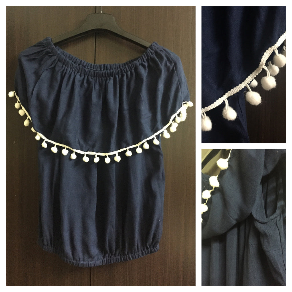 Ruffled Neck with Pom-Pom, Sleeveless Balloon Top - Navy Blue