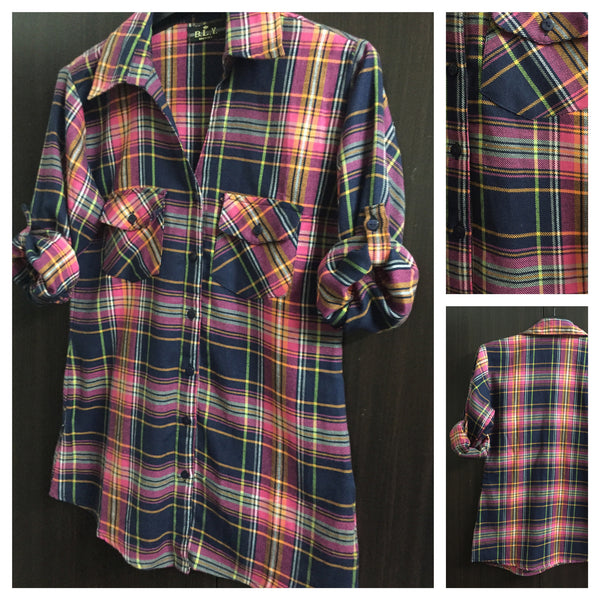 Little Warm - Checks - Pink and Blue Casual Shirt