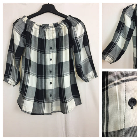 Checks - Black/White Off shoulder top with full front buttons
