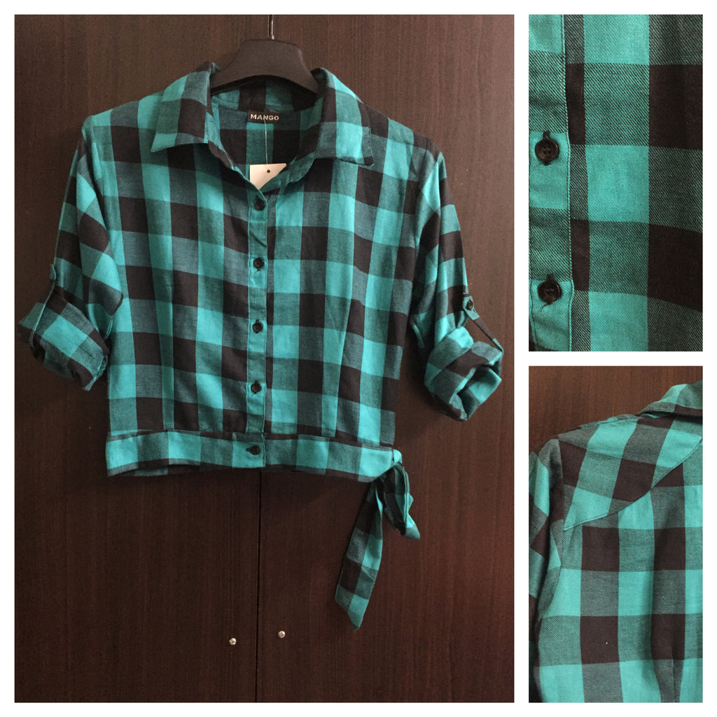 Little Warm - Crop Checks with Side Tie - Black and Green