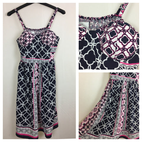 Vibrant Navy Blue, Pink and White printed Spaghetti Dress with adjustable straps