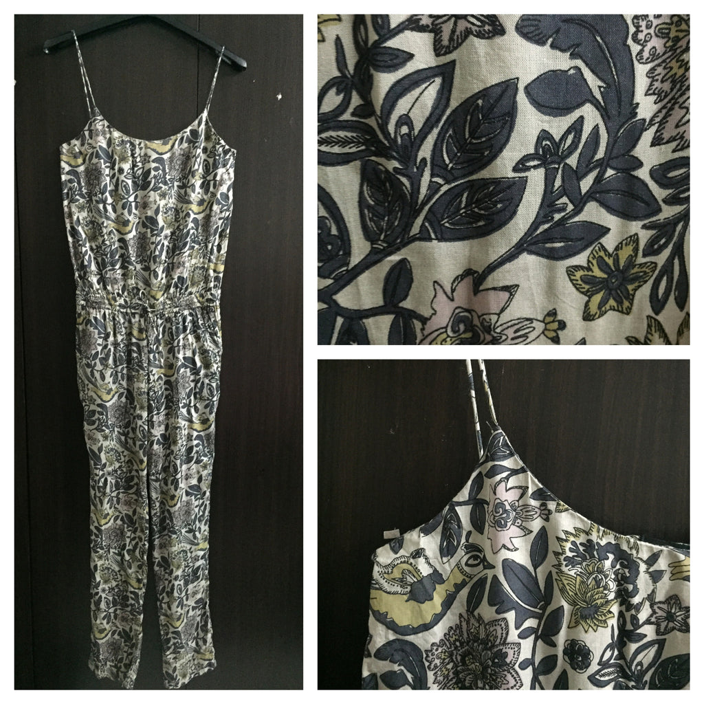 Grey Floral Spaghetti Jumpsuit