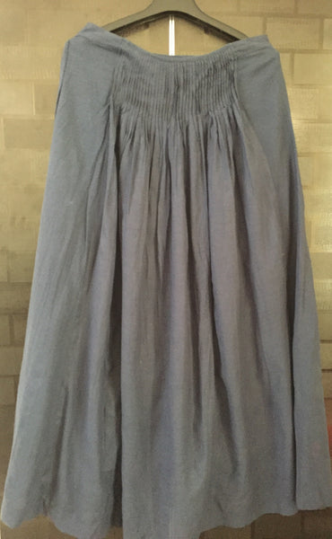 The navy Blue Long and Flared skirt with cotton lining and side zipper
