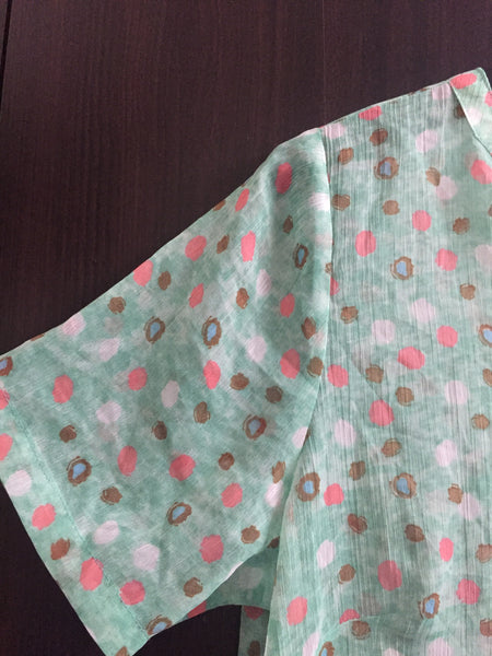 Polyester Printed Top with Pink - White - Brown Design
