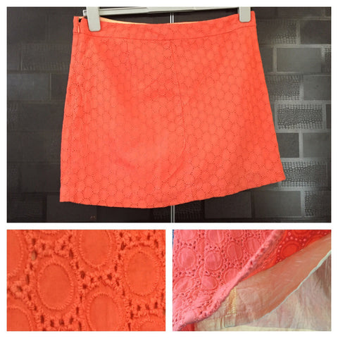 Pretty Cut-work - Orange Skirt with lining