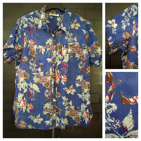 Floral Printed Blue Half - Sleeved Shirt