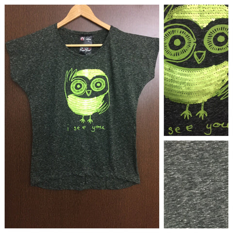 Green Sequin I See You on White thread- Dark Green base High-Low Tee
