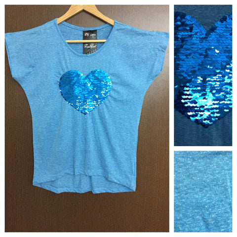 Sweet Heart - White Dots on Sky Blue Tee with Blue Sequin Heart.