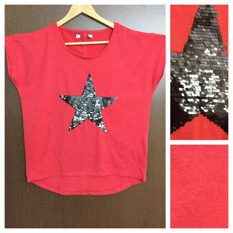 Black Sequin Star on Red (White dotted) Base comfy Tee.