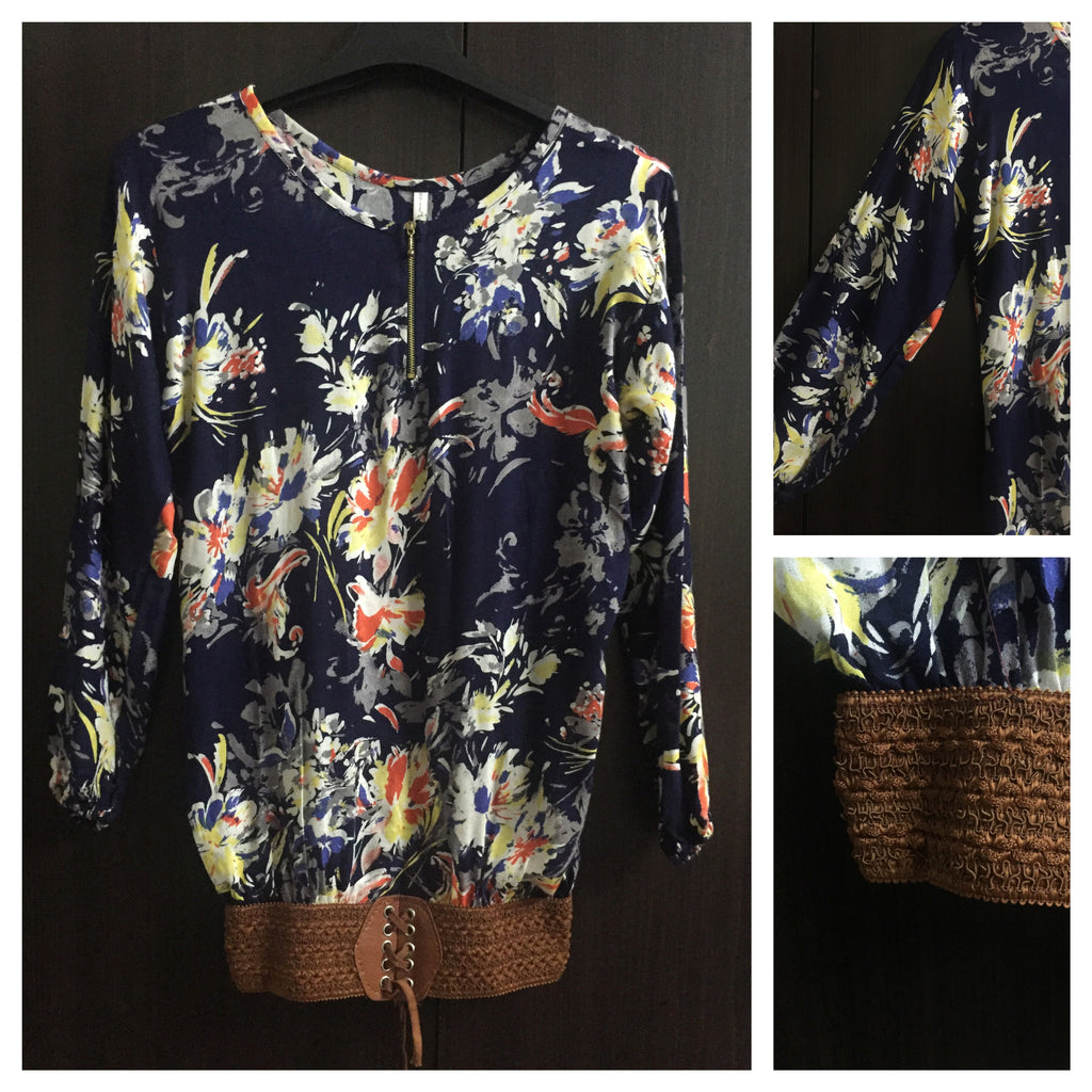 Balloon Style Top with Brown Belt - Navy Blue Floral Printed - #FTFY - For The Fun Years