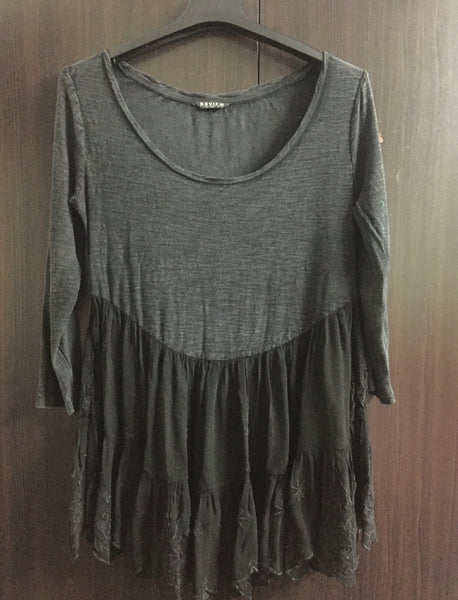 Grey and Black Top with lace on bottom