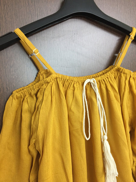 Cream Tasseled - Mustard Colored Cold Shoulder Top