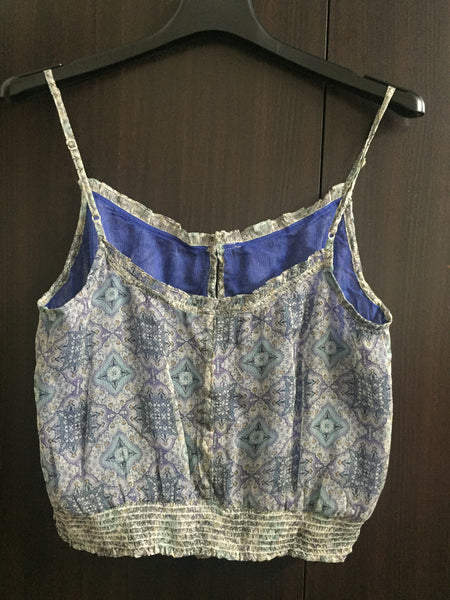 Pretty Printed Crop Spaghetti Top with adjustable Straps