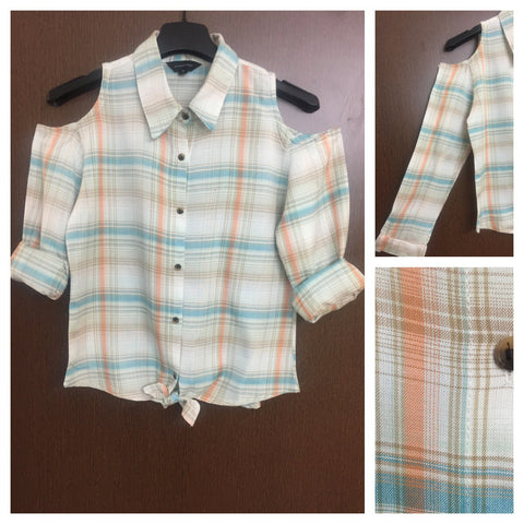 Checked Cold - Shoulder Cream, Green and Orange Shirt with front knot