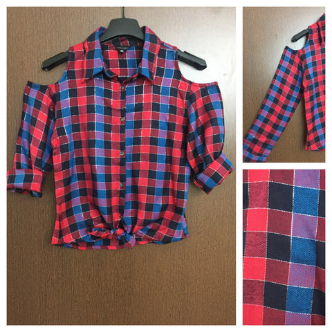 Checked Cold - Shoulder - Blue,Black & Red Check Shirt with silver thread and front knot