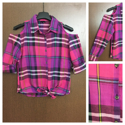 Checked Cold - Shoulder Pink - Purple Shirt with front knot and Yellow Blue stripes