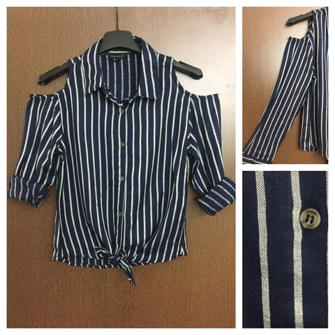 Little Warm - Striped Cold - Shoulder Blue and White Shirt with front knot