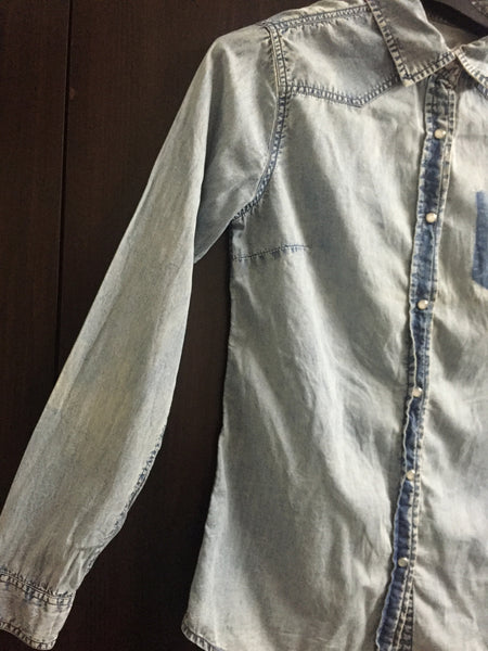 Washed Out Denim Shirt with Spotted Elbows