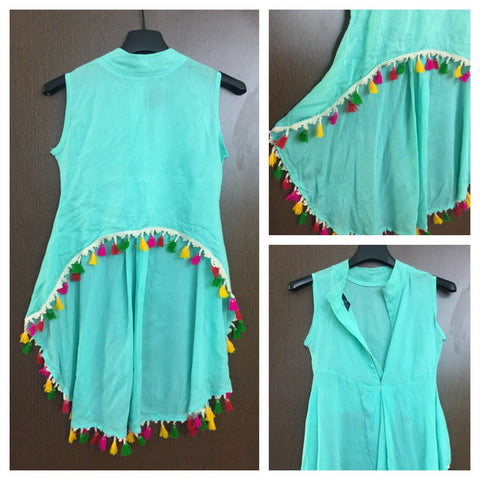 Colorful tasseled - Stylish High-Low - Closed Neck Top with back chain - Light Blue