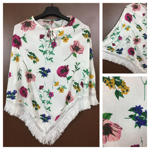 White Tasseled - Elegant Poncho Style Top with in White with Multicolor Flowers