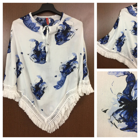 White Tasseled - Elegant Poncho Style Top with in White with Blue Flowers