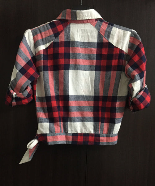 Little Warm - Crop Checks with Side Tie - Pink, Red and Blue