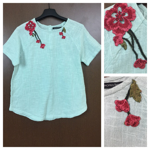 Patched - Pink-Red Flowers on neck - Light Green Casual Top
