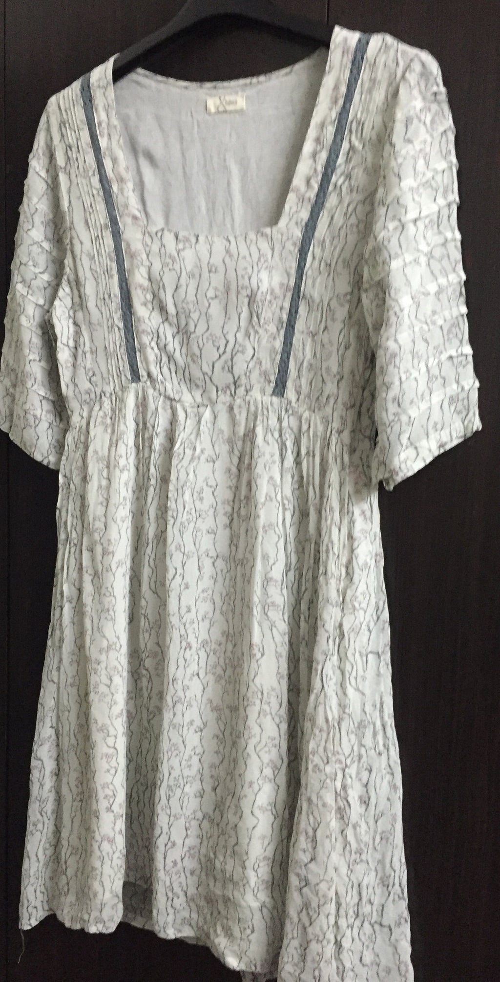 Simple Grey Dress with branch Prints.