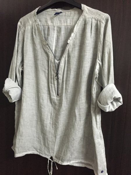 Light - Washed Out Grey Cotton Top with front Zipper