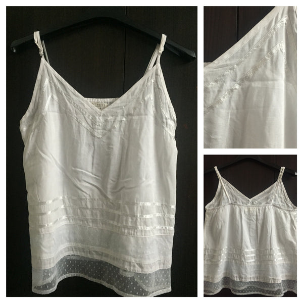 Simple Plain White Spaghetti Top with Lace work