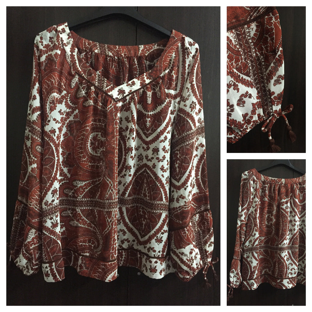 Casual Brown Printed Top with bow on Cuffs
